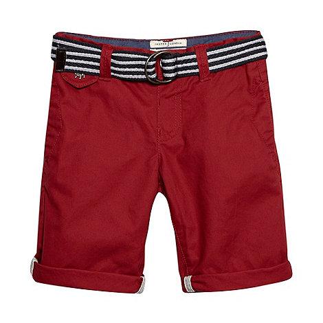 J by Jasper Conran - Designer boy+s red slim belted chino shorts