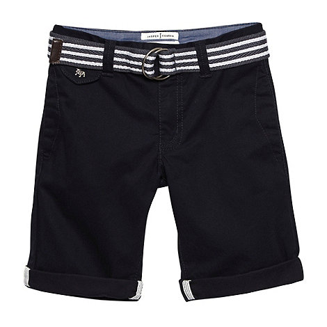 J by Jasper Conran - Designer boy+s navy slim belted chino shorts
