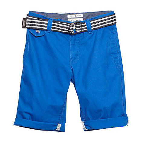 J by Jasper Conran - Designer boy+s blue slim belted chino shorts
