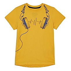 bluezoo - Boys' yellow headphone print t-shirt