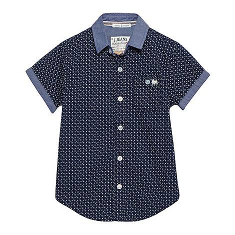 J by Jasper Conran - Designer boy+s navy geometric print shirt