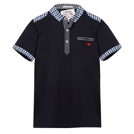 J by Jasper Conran - Designer boy+s navy gingham patchwork polo shirt
