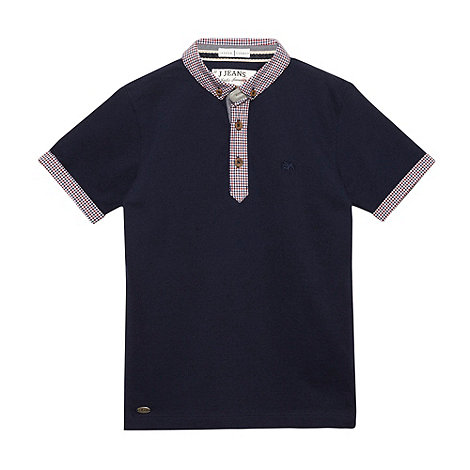 J by Jasper Conran - Designer boy+s navy gingham collar pique polo shirt