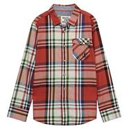 Designer boy's red checked long sleeved shirt