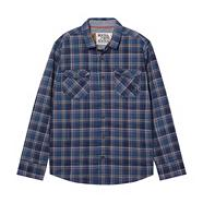 Designer boy's navy checked long sleeved shirt
