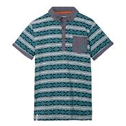 Designer boy's green aztec printed polo shirt