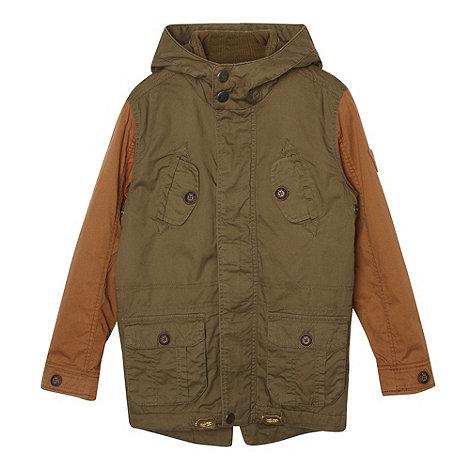 RJR.John Rocha - Designer boy+s khaki contrast sleeve parka coat