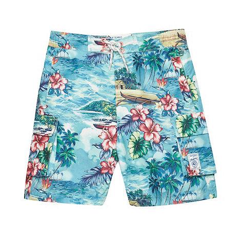 Mantaray - Boy+s blue tropical long swim shorts