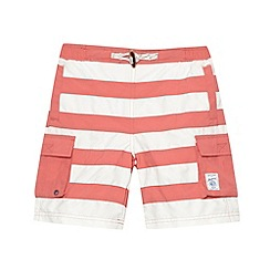 Mantaray - Boy's red striped long cargo swim shorts