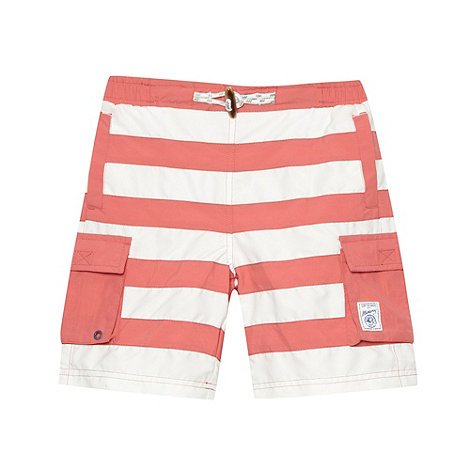Mantaray - Boy+s red striped long cargo swim shorts