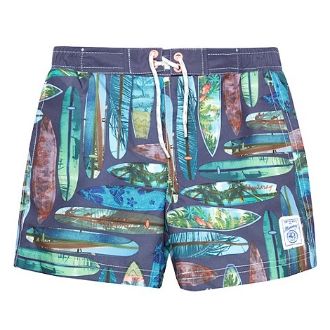 Mantaray - Boy+s navy surfboards print swim shorts