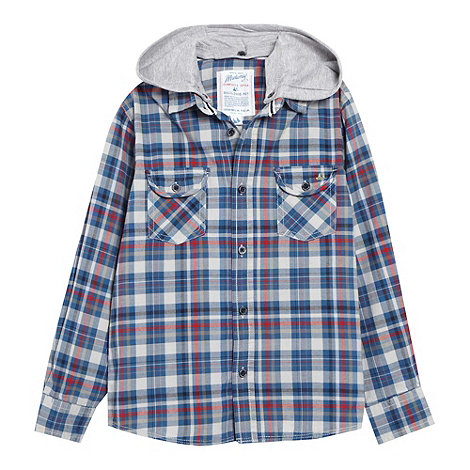 Mantaray - Boy+s blue checked detatchable hooded shirt