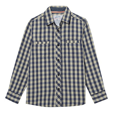 Mantaray - Boy+s blue checked herringbone checked shirt
