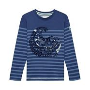 Boy's blue striped wave t-shirt