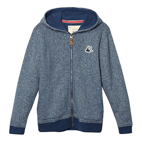 Mantaray - Boy+s blue mottled zip through hoodie