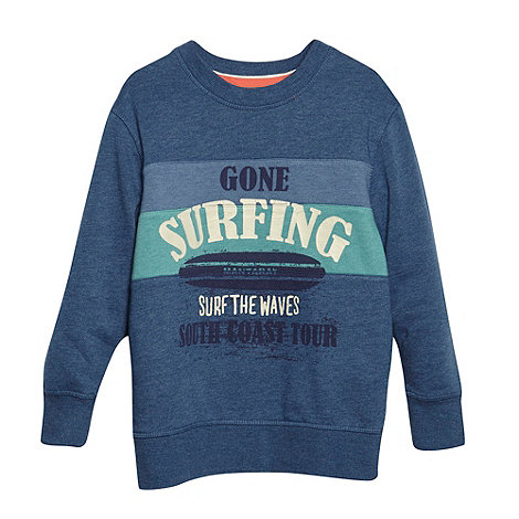 Mantaray - Boy+s blue crew neck surf printed jumper