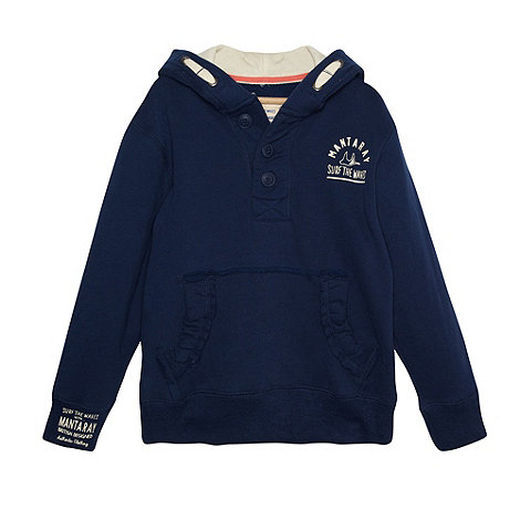 Mantaray - Boy+s navy cut and sew pocket hoodie