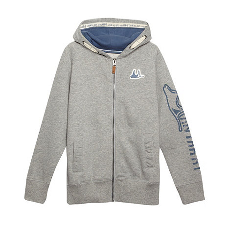 Mantaray - Boy+s grey logo printed zip through hoodie