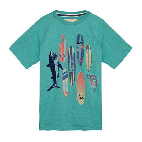 Mantaray - Boy+s aqua surf board t-shirt