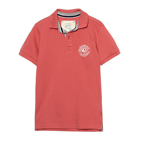 Mantaray - Boy+s red pique +Authentic Boards+ polo shirt