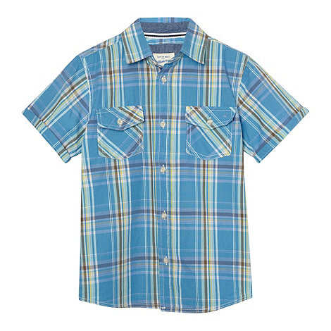Mantaray - Boy+s blue checked shirt