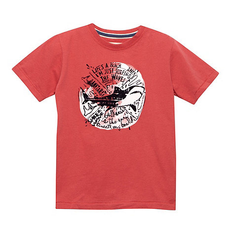 Mantaray - Boy+s red flocked shark logo t-shirt
