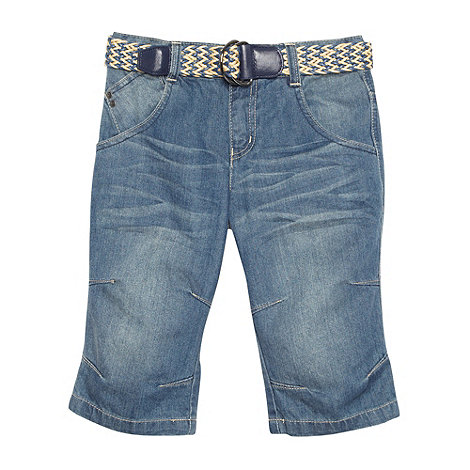 Mantaray - Boy+s blue belted denim shorts