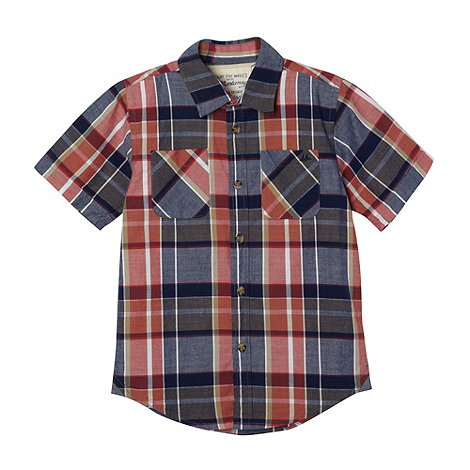 Mantaray - Boy+s navy checked shirt