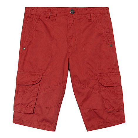 Mantaray - Boy+s red twill cargo shorts