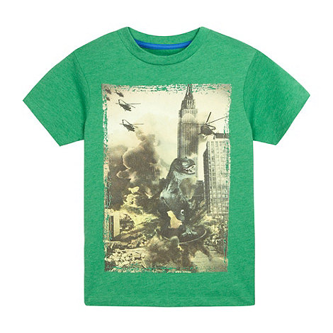bluezoo - Boy+s green dinosaur printed t-shirt