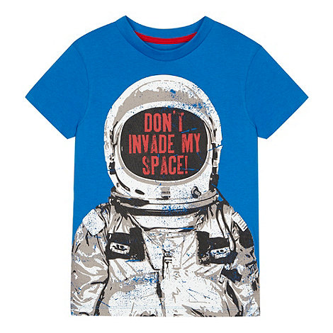 bluezoo - Boy+s blue astronaut print t-shirt