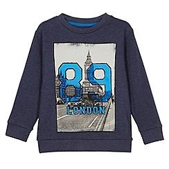 bluezoo - Boy's navy 'London 89' print sweat top
