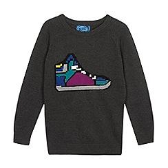 bluezoo - Boy's dark grey trainer knitted jumper