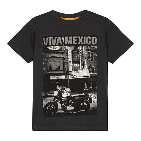 bluezoo - Boy+s grey +Viva Mexico+ motorcycle print t-shirt