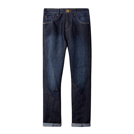 bluezoo - Boy+s dark blue turn up jeans