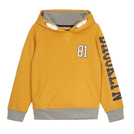 bluezoo - Boy+s yellow graphic printed hooded sweat