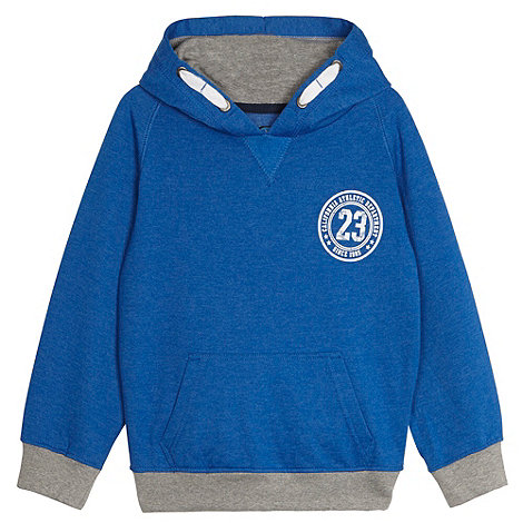 bluezoo - Boy+s blue graphic printed hooded sweat