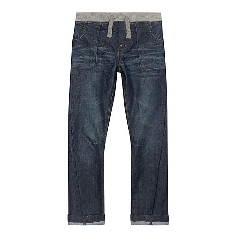 bluezoo - Boy+s dark blue rib waist jeans