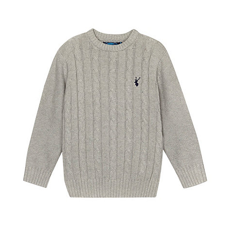 bluezoo - Boy+s grey cable knit crew neck jumper