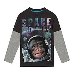 bluezoo - Boy's dark grey 'Space Monkey' printed top