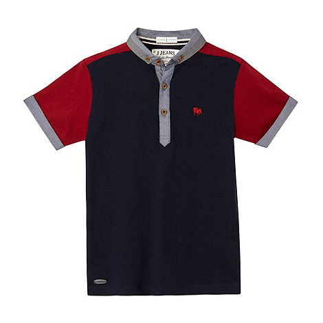 J by Jasper Conran - Designer boy+s navy contrast sleeve polo shirt