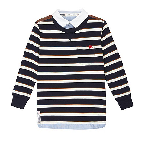 J by Jasper Conran - Designer boy+s navy striped mock two in one jumper