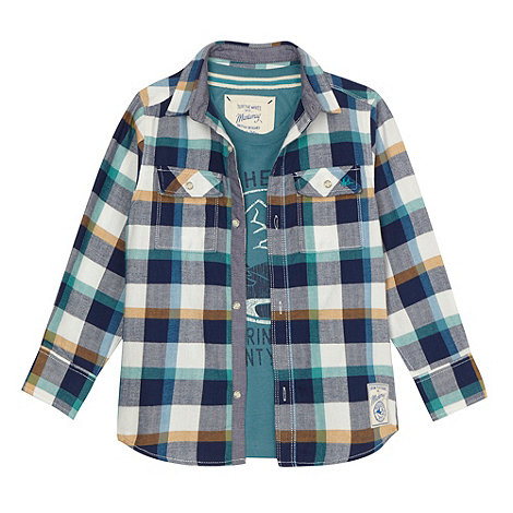 Mantaray - Boy+s blue checked shirt and t-shirt set