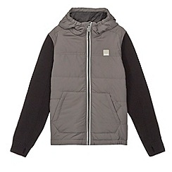 Bench - Boy's grey padded ribbed cuffs hoodie