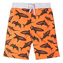 bluezoo - Boy's orange shark printed swim shorts