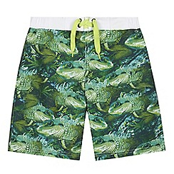 bluezoo - Boy's green lizard print swim shorts