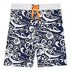bluezoo - Boy's navy hibiscus floral swim shorts