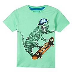 bluezoo - Boy's green skater tiger t-shirt