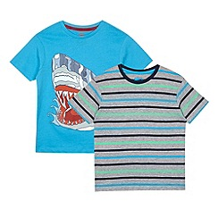 bluezoo - Boy's blue pack of two t-shirts