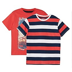 bluezoo - Boy's red pack of two t-shirts